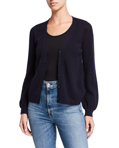 Cashmere Button-Front Balloon-Sleeve Cardigan