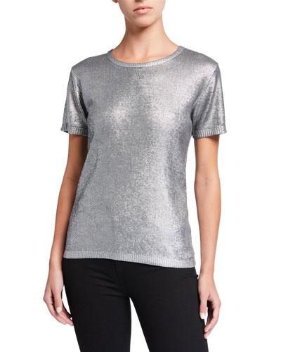 Metallic Crewneck Short-Sleeve Sweater