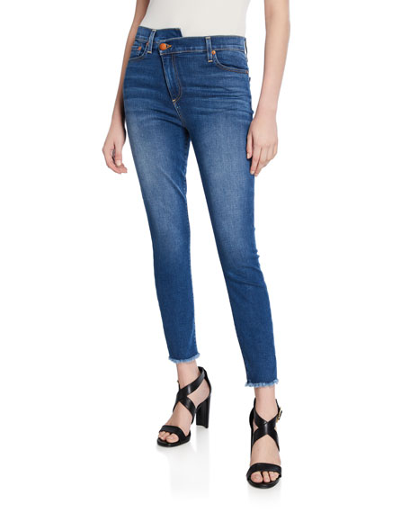 ALICE + OLIVIA JEANS Good High-Rise Asymmetrical Skinny Jeans