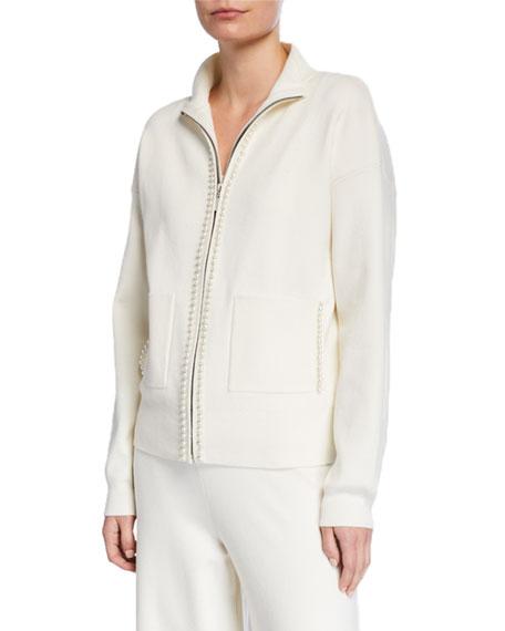 Joan Vass Petite Pearlescent Trim Zip-Front Sweater Jacket