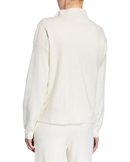 Image 3 of 3: Petite Pearlescent Trim Zip-Front Sweater Jacket