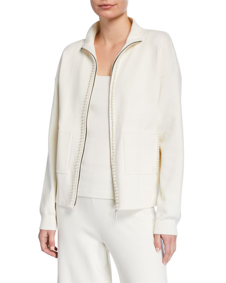 Image 1 of 3: Petite Pearlescent Trim Zip-Front Sweater Jacket