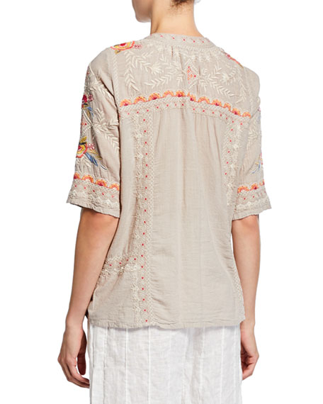 Johnny Was Uma Embroidered V-Neck Elbow-Sleeve Easy Voile Top