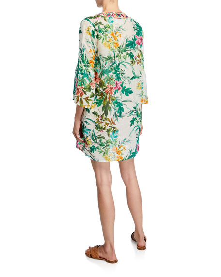 Johnny Was Floral-Print Embroidered V-Neck Flare-Sleeve Linen Tunic Dress