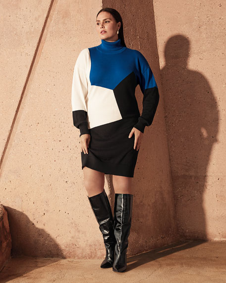 Joan Vass Plus Size Colorblock Turtleneck Cotton Sweaterdress