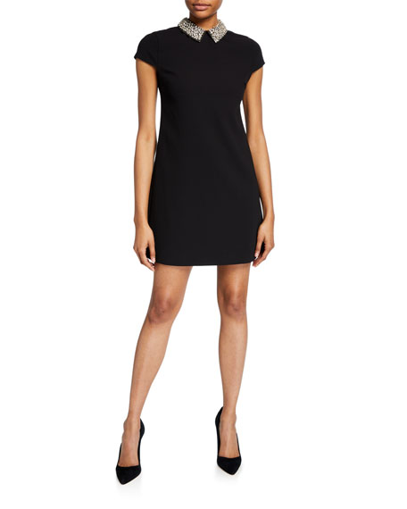 Alice + Olivia Coley Cap-Sleeve Mini Dress with Detachable Embellished Collar