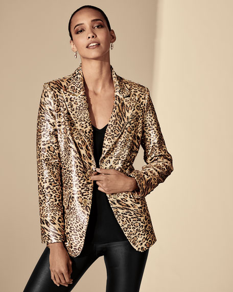 Berek Sequin Leopard-Print Two-Button Blazer