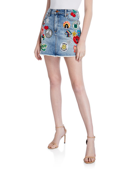 ALICE + OLIVIA JEANS Good High-Waist Patched Skirt