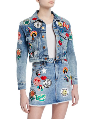 3bd2f1efcc324e ALICE + OLIVIA JEANS Cropped Boyfriend Jacket with Patches