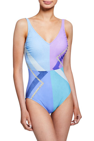 Gottex Modern Art V-Neck One-Piece Swimsuit
