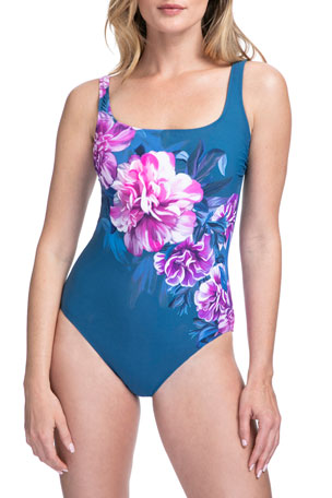 Gottex Fiji Floral Square-Neck One-Piece Swimsuit