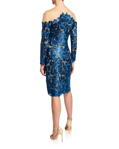 Tadashi Shoji Sequin Lace Long-Sleeve Cocktail Dress with Illusion Neckline