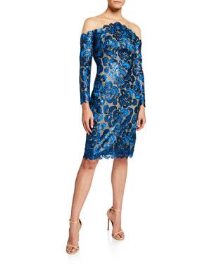 ae4e8bad13c6 Tadashi Shoji Sequin Lace Long-Sleeve Cocktail Dress with Illusion Neckline