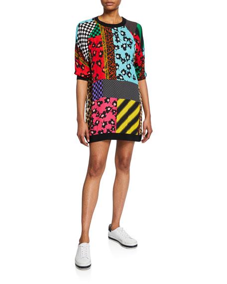 Alice + Olivia Jetti Mixed-Print Raglan-Sleeve Sweatshirt Dress