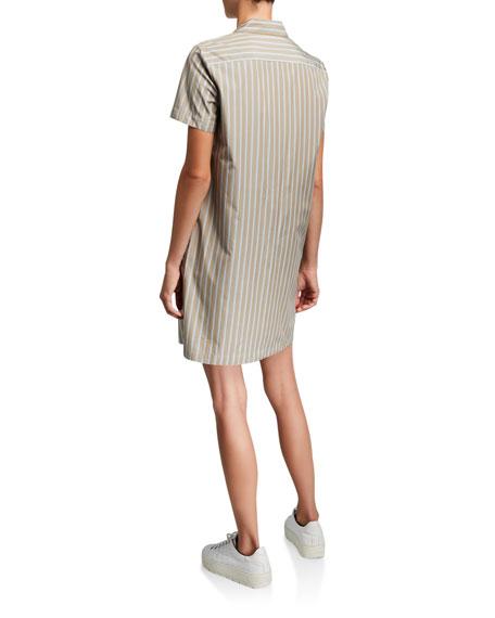 Theory Ribbon Stripe Button-Down Short-Sleeve Shirtdress