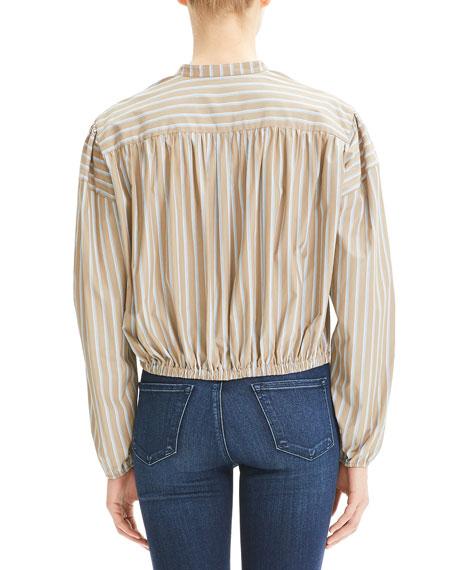 Theory Ribbon Striped Button-Down Shirred Yoke Long-Sleeve Crop Top