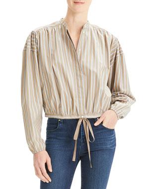 2e9d46e58db Theory Ribbon Striped Button-Down Shirred Yoke Long-Sleeve Crop Top