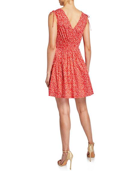 Rebecca Taylor Malia Sleeveless Dot-Print Short Dress