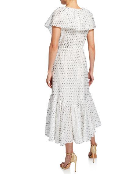 Rebecca Taylor Birdseye Dot Clip Ruffle Midi Dress