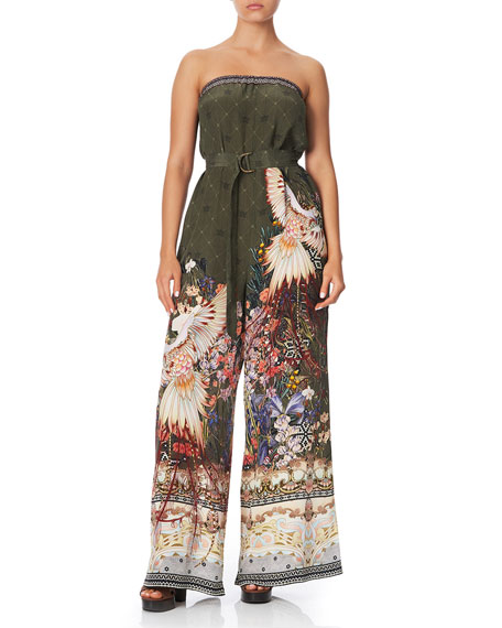 Camilla Strapless Wide-Leg Jumpsuit with D-Ring Belt