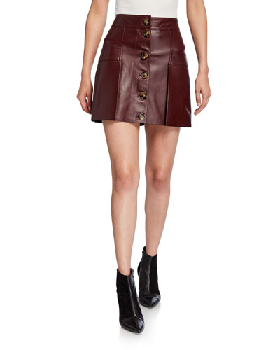 Galina Button-Front Leather Mini Skirt