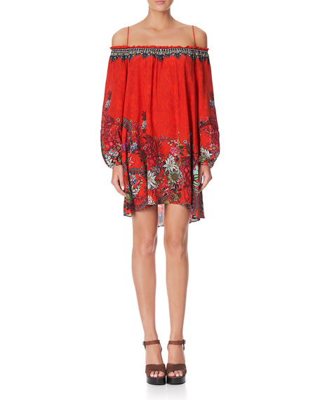 Camilla Off-Shoulder Printed Short Dress