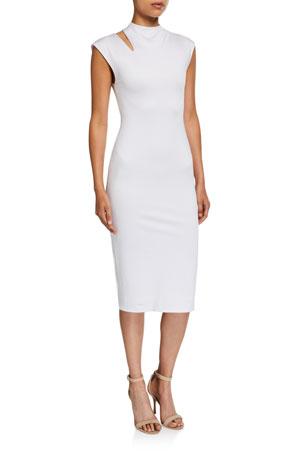 Alice + Olivia Delora Mock-Neck Cutout Dress