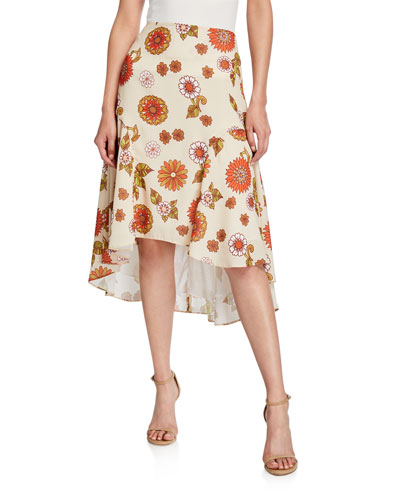 Kathy Floral-Print High-Low Skirt