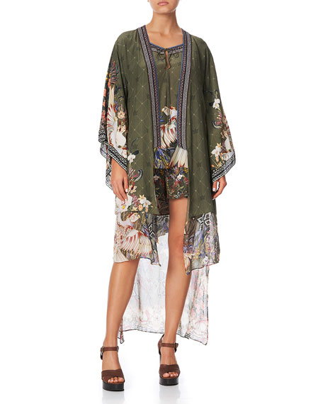 Camilla Layered Silk Kimono with Long Underlay