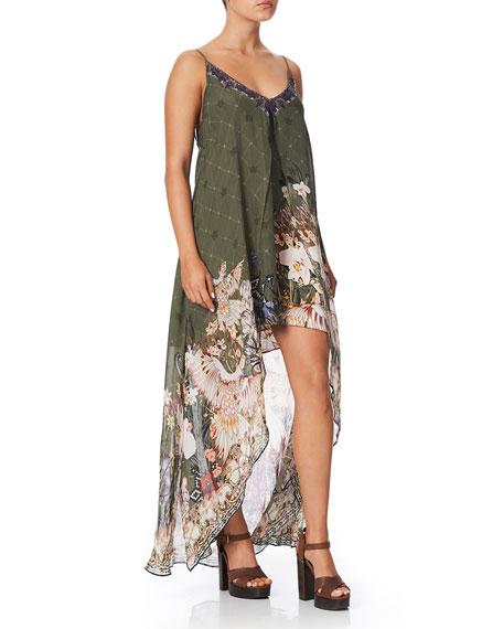 Camilla Flared Mini Dress with Sheer Overlay