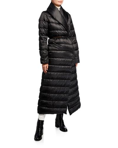 Novela Shawl-Collar Long Belted Quilt Coat