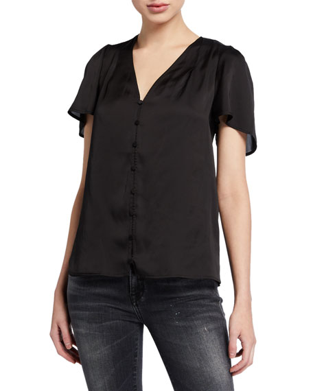 PAIGE Kelly Button-Front Short-Sleeve Top