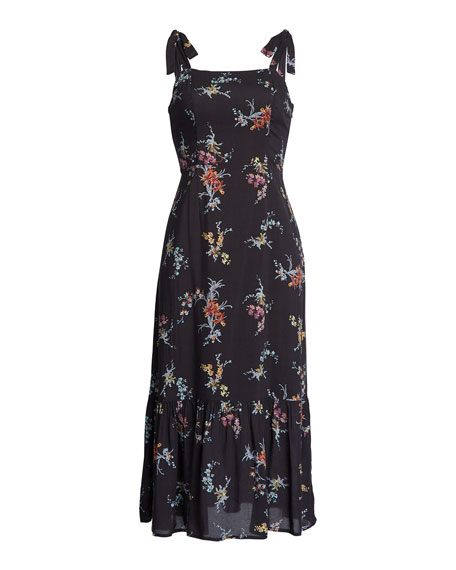 PAIGE Tolucah Floral Shoulder-Tie Midi Dress