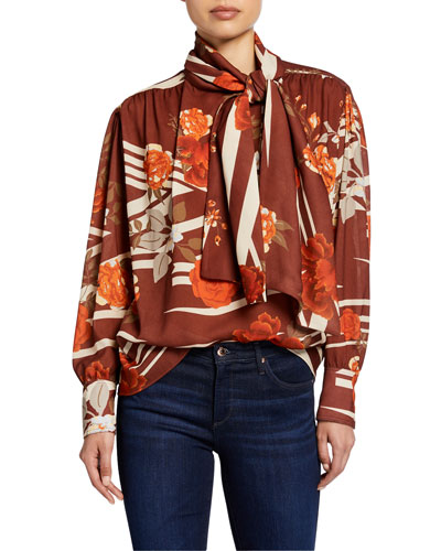 Kelly Tie-Neck Floral-Print Shirt