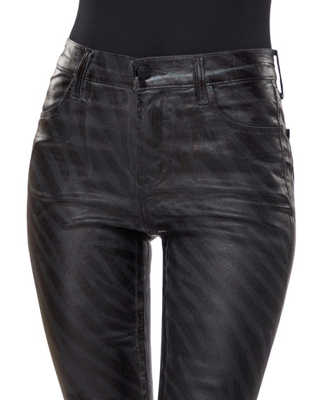 J Brand Maria High-Rise Coated Skinny Jeans