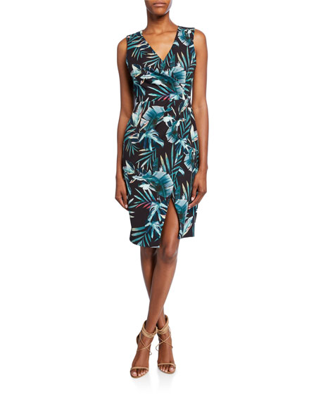 Black Halo Nora Leaf-Print Faux-Wrap V-Neck Sleeveless Sheath Dress