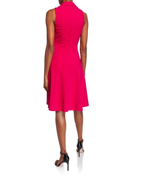 Black Halo Romee V-Neck Sleeveless Full Skirt Ponte Dress w/ Collar