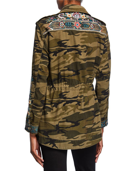 Johnny Was Petite Molly Camo Baby Cord Embroidered Button-Front Jacket