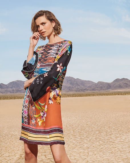 Johnny Was Petite Luna Mixed-Print Flare-Sleeve Silk Dress