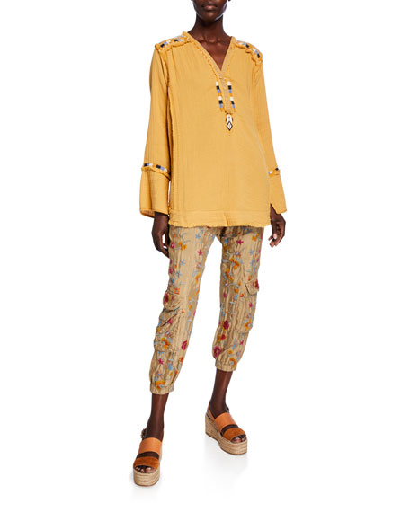 Johnny Was Tak Floral Embroidered Drawstring Cargo Pants