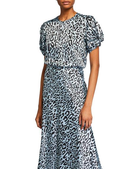 Rebecca Minkoff Ally Animal-Print Short-Sleeve Top