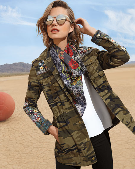 Johnny Was Molly Camo Baby Cord Embroidered Button-Front Jacket