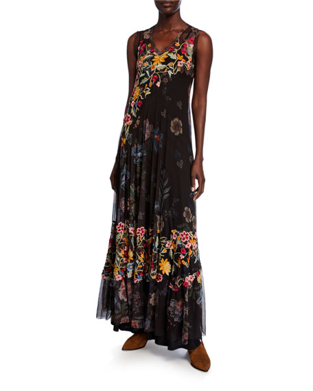Johnny Was Rhio Floral Embroidered V-Neck Sleeveless Mesh Maxi Dress