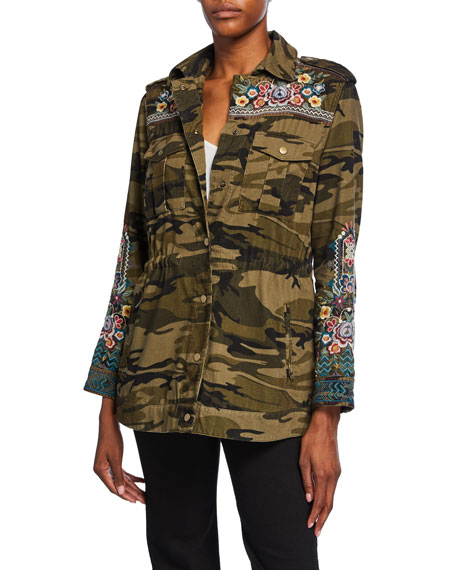 Johnny Was Plus Size Molly Camo Baby Cord Embroidered Button-Front Jacket