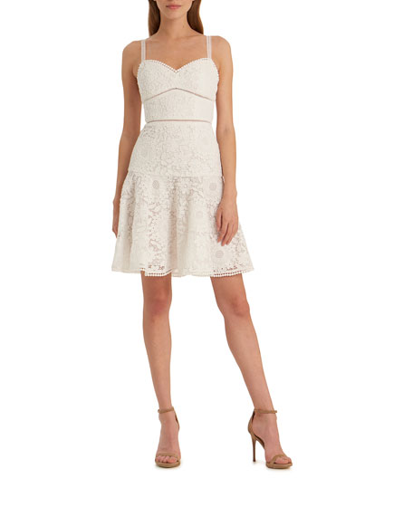 ML Monique Lhuillier Floral Lace Sweetheart Mini Dress