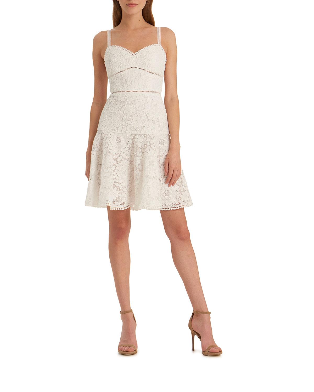 6836929ec5a68 ML Monique Lhuillier Floral Lace Sweetheart Mini Dress   Neiman Marcus