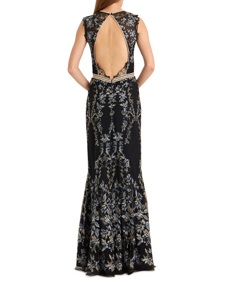 ML Monique Lhuillier Open-Back Floral Embroidered Mesh Gown with Ruffled Bottom