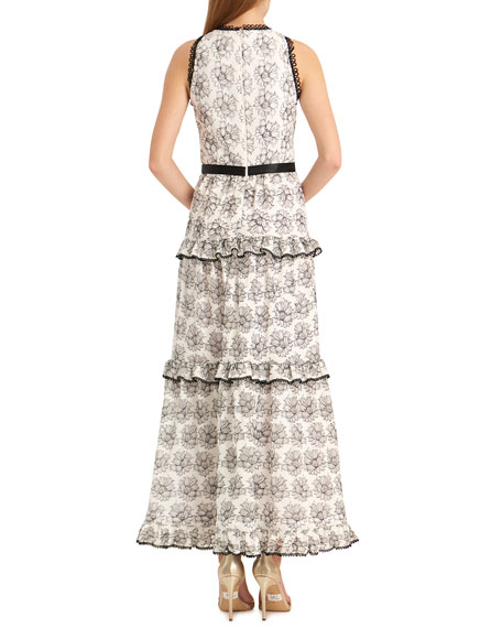 ML Monique Lhuillier Floral Ruffle Tiered Sleeveless Dress