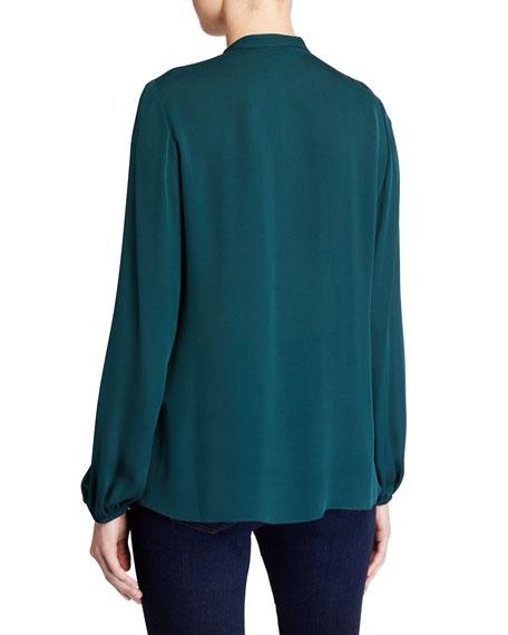 Kobi Halperin Trista Blouson-Sleeve Silk Georgette Blouse with Tassels
