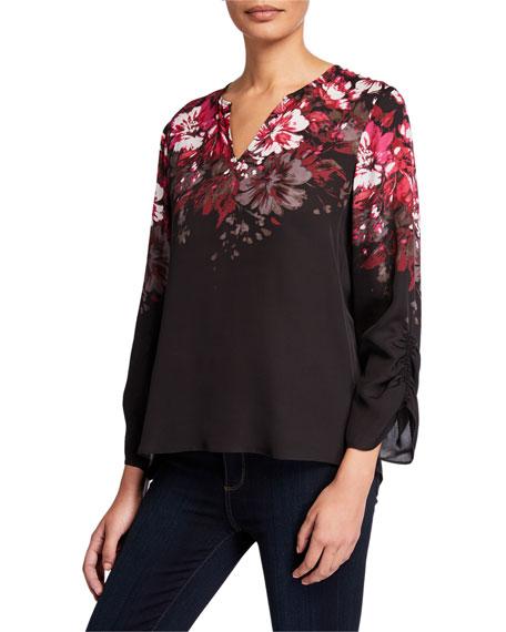 Kobi Halperin Bianca Floral V-Neck Ruched Sleeve Silk Blouse